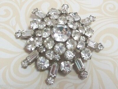 High Domed Vintage Brooch In Clear Diamantes - Look Good On Jacket Lapel