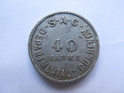 S A G Token South Australian Government 40 Marks Departmental Currency Rare