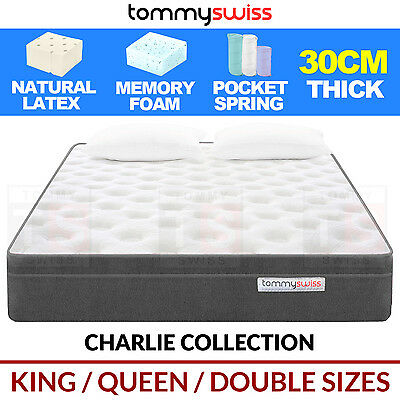 DESIGNER MATTRESS King Queen & Double Pocket Spring Natural Latex w Memory Foam