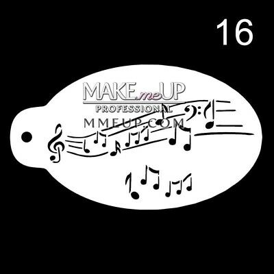 #16 STENCIL MUSIC NOTES MELODY SOUND airbrush facepaint face painting mylar cake