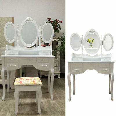 coiffeuse table de maquillage commode 3 miroirs tiroirs classique tabouret eur 169 99. Black Bedroom Furniture Sets. Home Design Ideas