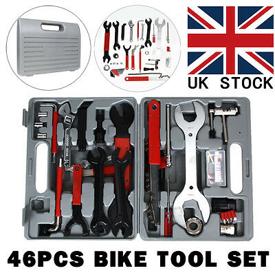 46pcs Bike Cycling Bicycle Maintenance Repair Hand Wrench Tool Kit Set Box Case