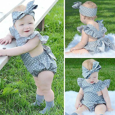 2pcs Newborn Infant Kids Baby Girls Romper Jumpsuit Bodysuit Clothes Outfits Set