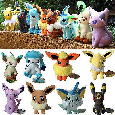 8Pcs Pokemon Go Evolution of Eevee Plush Soft Toy Stuffed Animal Doll Cute Teddy