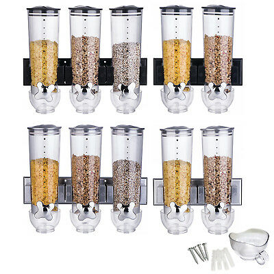 Wall Mounted Double/triple Cereal Dispenser Dry Food Storage Container 2 Colour