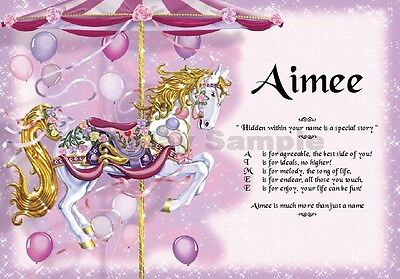 First Name Meaning or Name Verse Carousel Horse Girl Gift -Unique Certificates