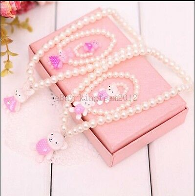 Bowknot Pearl Necklace Bracelet for Girl Children Jewelry Set Children Jewelry