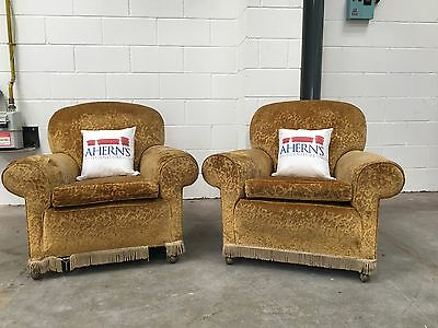 **LUXURIOUS Rare Victorian Gold Crushed Velvet Arm Chairs L��������K*
