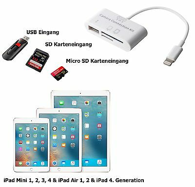 3in1 Camera Connection Kit fürs Apple iPad USB Micro SD Karte SD Lightning