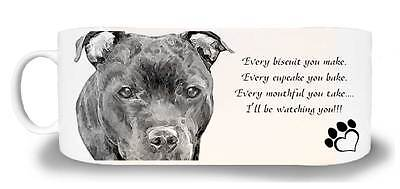 "Staffordshire Bull Terrier Dog Ceramic Mug ""I'll be watching you"" & Gift Tag"