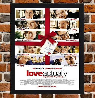 Framed Love Actually Movie Poster A4 / A3 Size Mounted In Black / White Frame
