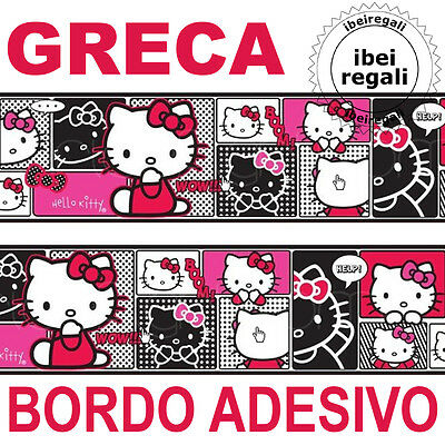 Bordo Greca Hello Kitty Bordino Adesivo Muro Parete Decorazione Camera Bambina