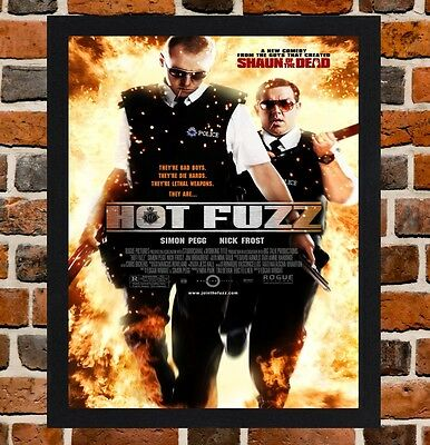 Framed Hot Fuzz Movie Poster A4 / A3 Size Mounted In Black / White Frame