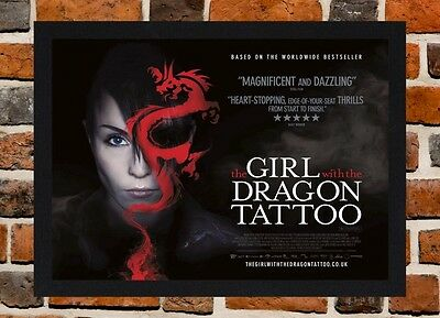 Framed The Girl with the Dragon Tattoo Movie Poster A4 / A3 Size In Black Frame