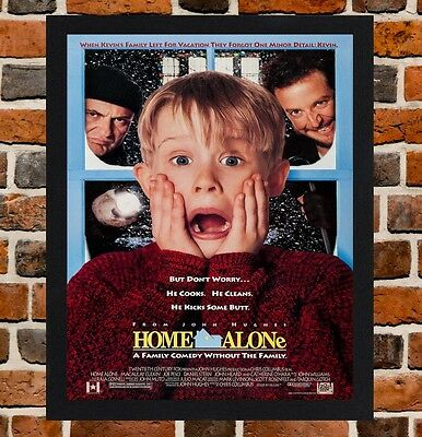 Framed Home Alone Movie Poster A4 / A3 Size In Black / White Frame