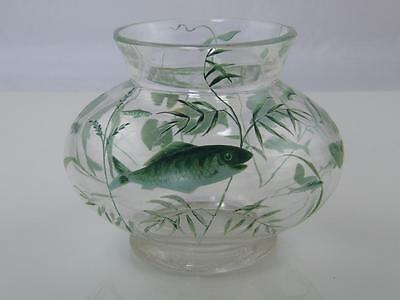 Antique Thomas Goode Enameled Fish Bowl Vase
