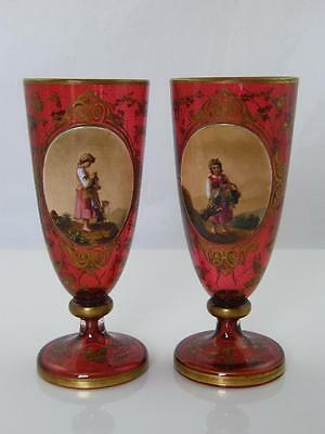 Pair Of Antique Bohemian Gilded & Hand Painted, Raised Porcelain Glass Goblets