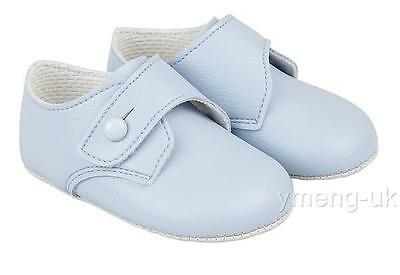 Gorgeous Baby Boy Patent Pram Shoes Buckle Strap/Soft Sole/Unisex/Blue/White