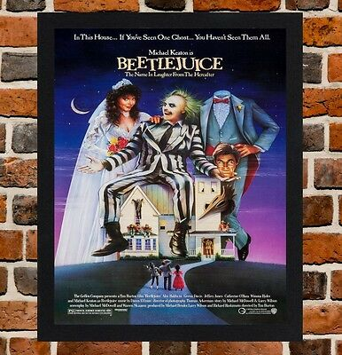 Framed Beetlejuice Movie Poster A4 / A3 Size Mounted In Black / White Frame