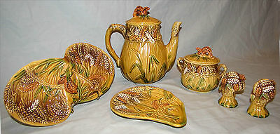 Vintage Tea Pot Coffee Server Sugar Bowl Salt Pepper Hand Painted Majolica 6 pc