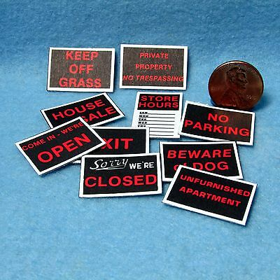 Dollhouse Miniature Set of 10 Store and Various Other Signs ~ FA40047