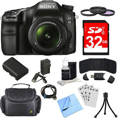 Sony ILCA68K/B a68 A-Mount 24.2MP Digital Camera w/18-55mm Zoom Lens 32GB Bundle