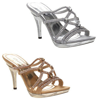 Womens Ladies Diamante High Heel Wedding Party Glitzy Evening Sandals Shoes Size