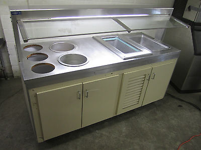 Portable Hot & Cold Buffet Table Wells Warmers Refrigerated Well w/ Sneeze Guard