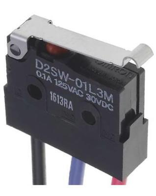 Omron D2SW-01L3M SPDT-NO/NC Simulated Roller Lever Microswitch, 100mA @ 30V dc