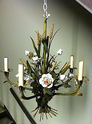 Vintage Tole Chandelier Italian 1960s With Red and White Roses And Corn details