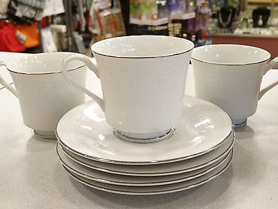 LOT OF 7  PCS Nitto Fine China CLUNY LACE 4911 3 COFFEE TEA CUPS 4 SAUCERS