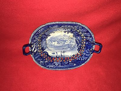 Historical Staffordshire Reticulated Basket With Italian Scenery by Enoch Wood