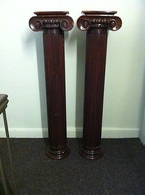 "Antique Style Columns Ionic Pair Wood Fluted 55""Tall Ralph Lauren Home Furniture"
