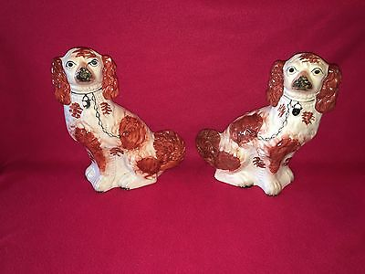 Staffordshire Pair Of Large Spaniels Figures Circa 1870 Great Condition