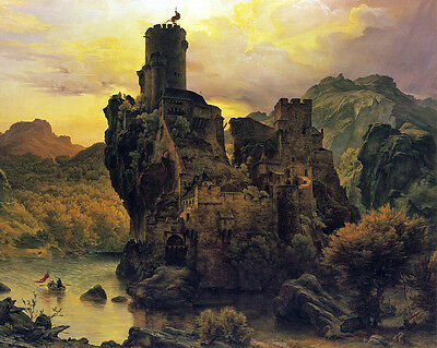 Ritterburg ANAGORIA CASTLE FORTRESS CLIFF Painting 8x10 Real Canvas Art Print