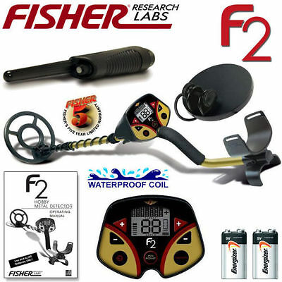 """Fisher F2 Metal Detector With 2 Waterproof Coils 4 & 8"""" + Free Pinpointer Beach"""