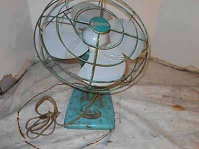 Vintage Collectible heavy weight metal dominion WIRE Cage Electric Fan