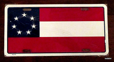 """7 Star 1st National Confederate Flag License Plate Auto Car Tag 6""""x12"""""""