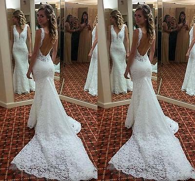 Bridal Wedding Dress Backless Lace Mermaid Long V Neck Gown Custom Made Sexy New