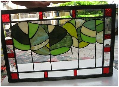 """Stained Glass Window Panel Suncatcher / """"Leaves with Bevels"""""""