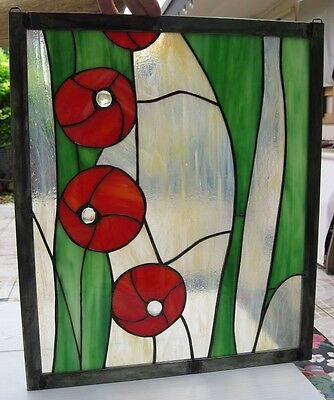 """Stained Glass Window Panel Suncatcher / """"Green with Red Poppies"""""""