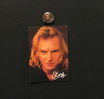 Sting Button + Vintage Postcard Uk Import   The Police