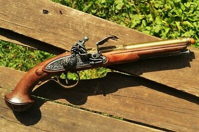 18TH CENTURY FLINTLOCK Pistol - Revolutionary War - Pirate - Brass Denix  Replica