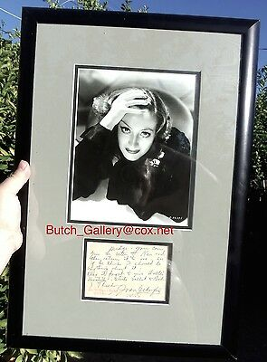 JOAN CRAWFORD 1930s handwritten note framed signed autograph