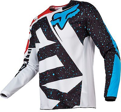 Fox 17 180 Nirv Red White Blue MX Jersey Motocross Sport Dirt Bike Off Road Gear