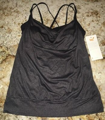 LUCY Feel The Beat Singlet Black Heather Tank Top Dance Yoga NWT Womens Sz S