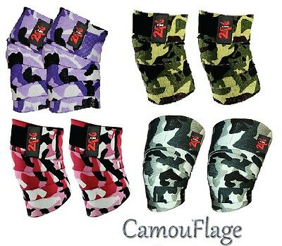 2Fit KNEE WRAPS CAMO WEIGHTLIFTING BANDAGE STRAP GUARD POWER LIFTING PAD CAMO