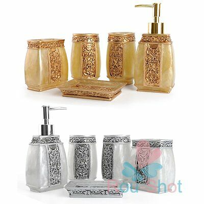 Rome Aristocracy 5Pcs Bathroom Accessories Set Bath Resin Cup Toothbrush Holder