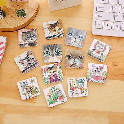 3Pcs Cat Kitten Metal Magnetic Bookmarks Note Memo Stationery Book Mark Bookworm