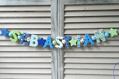 """sebastian"" Wooden Wall Letters Name Sign Baby Shower Decor Personalized Shabby"